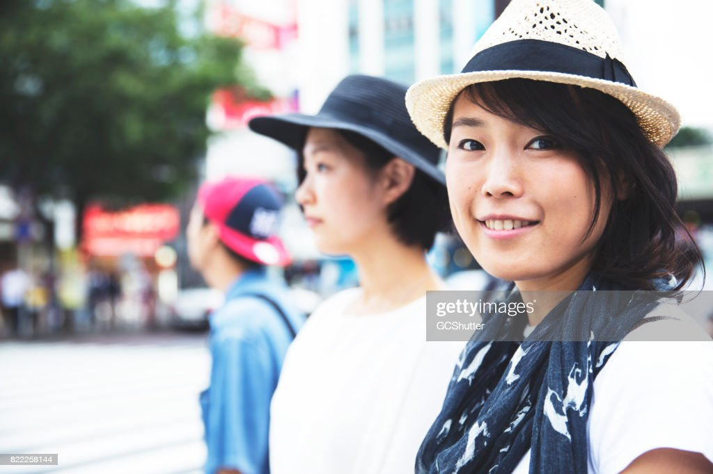 Close up of a Japanese woman looking at the camera : Stock Photo
