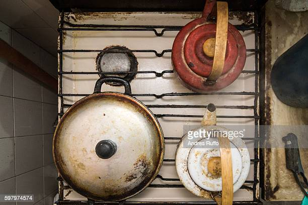Close up of a kitchen with two boiler and a pan isolated