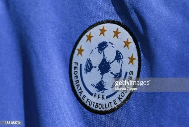 Close up of a Kosavo badge before the UEFA Euro 2020 Qualifier between Kosovo and England on November 17, 2019 in Pristina, Kosovo.