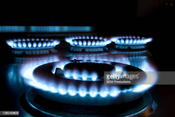 Close up of a Lit Hob