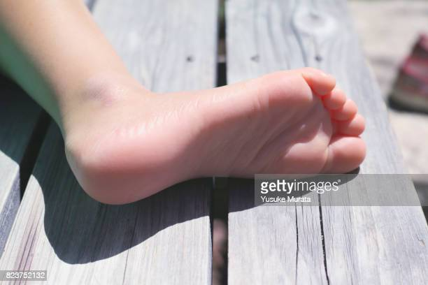 Close up of a little girl foot