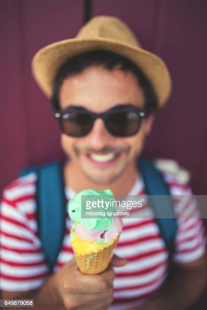 Close up of a man eating ice cream