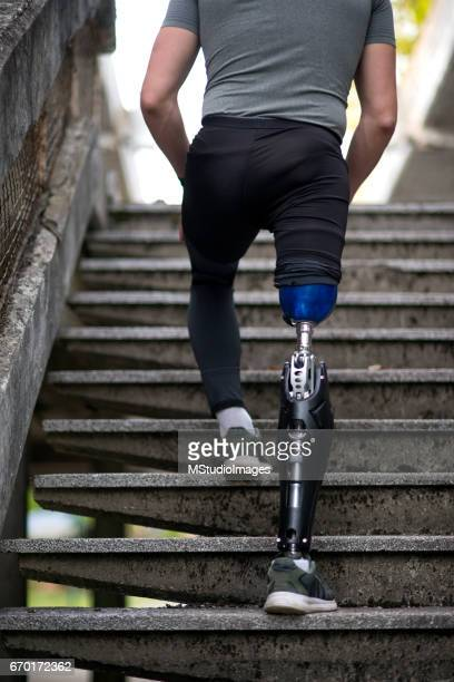 Close up of a man with prosthetic leg