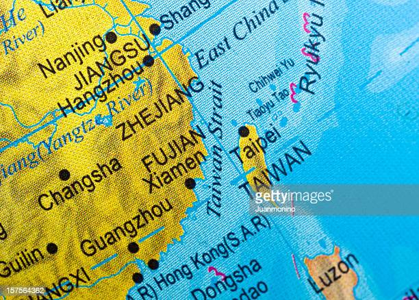 close up of a map of the taiwan strait. - taiwan stock photos and pictures