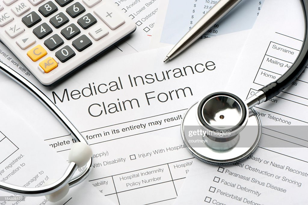 Close up of a medical insurance form : Stock Photo