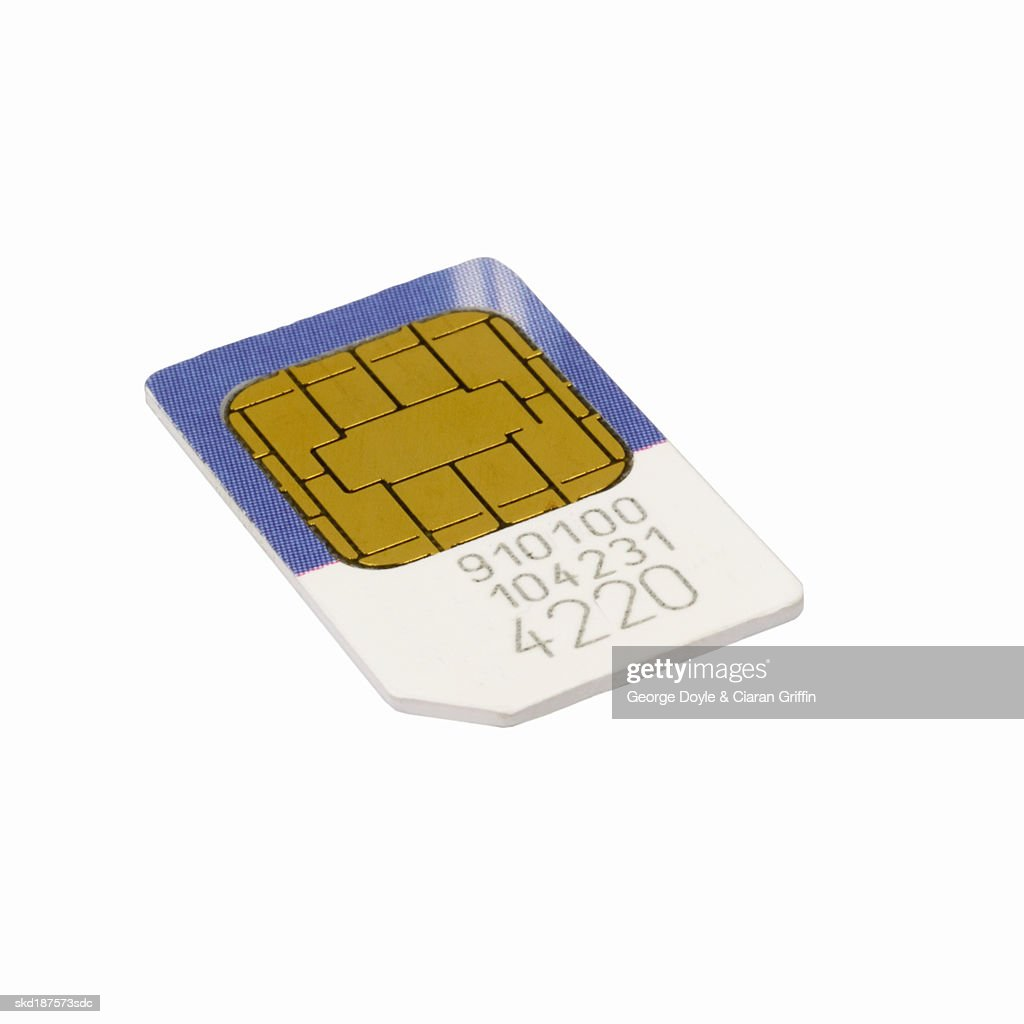 Close up of a mobile phone sim card : Stock Photo