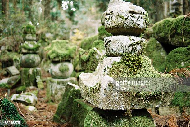 Close up of a moss-covered tombstone