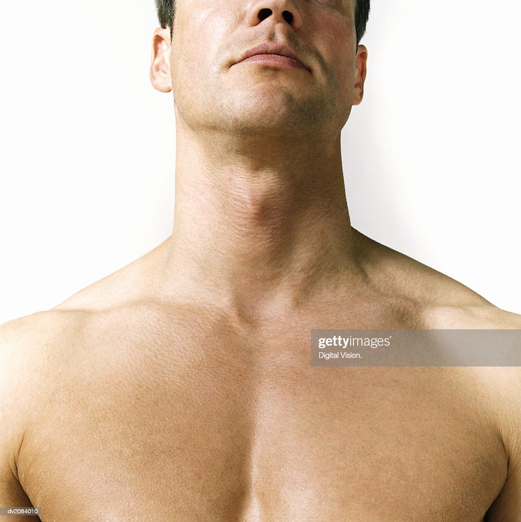 Close Up of a Naked Man's Chest : Stock Photo