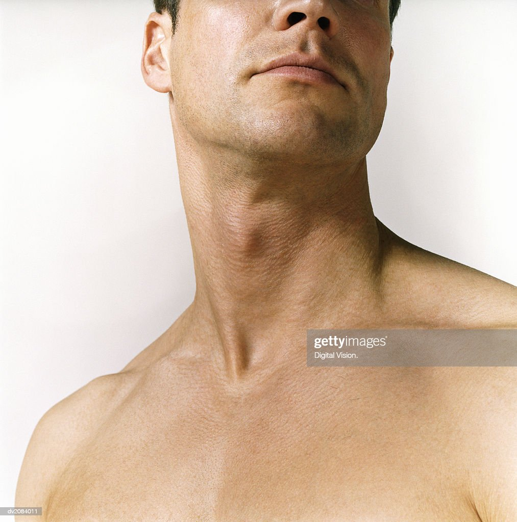 Close Up of a Naked Man's Neck : Stock Photo
