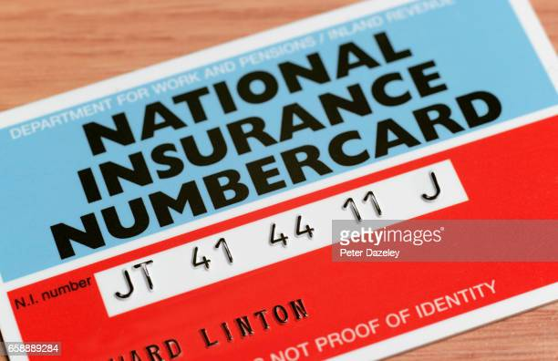 Close up of a National Insurance card on March 14,2017 in London,England.