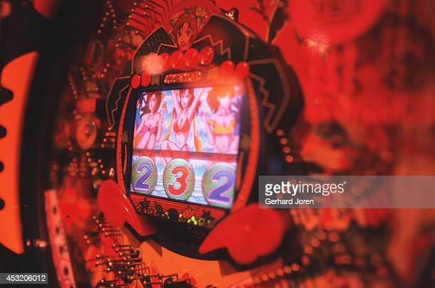 A close up of a pachinko machine at the Maruhan Pachinko Tower in Tokyo's fashionable Shibuya district where over 5000 players daily enjoy the more...