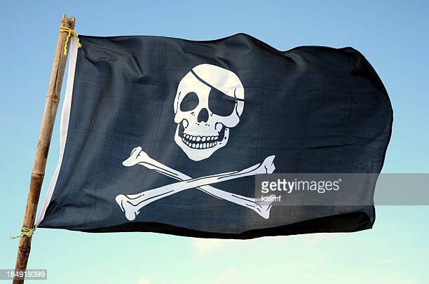 Close up of a pirate skull on a flag