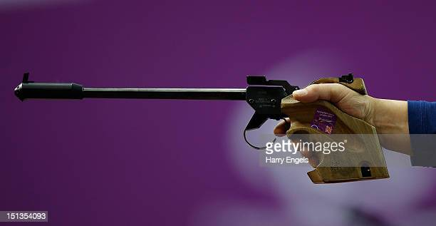 A close up of a pistol during the Mixed P450m PistolSH1 competition on day 8 of the London 2012 Paralympic Games at The Royal Artillery Barracks on...