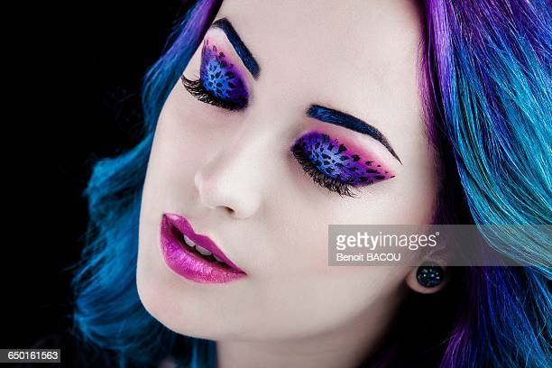 Close up of a pretty girl with leopard makeup