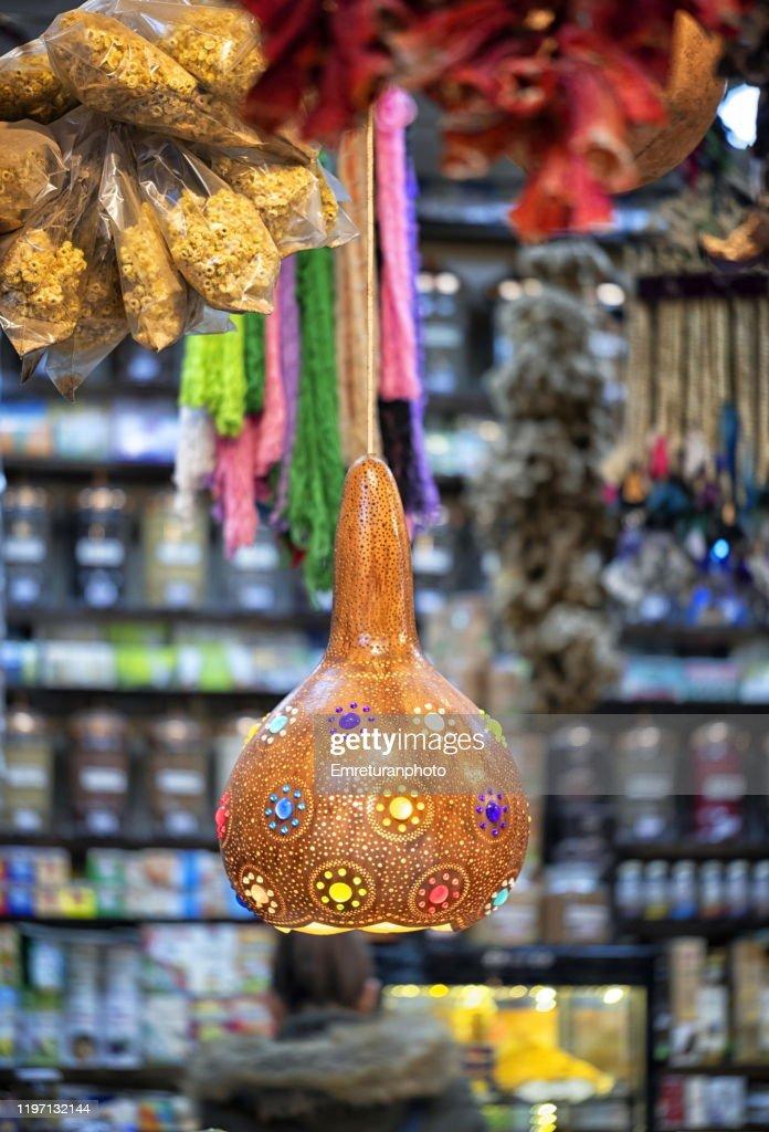 Close up of a pumpkin lamp in a spice shop,Kemeralti market,Izmir. : Stock Photo