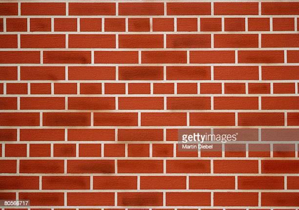 Close up of a red brick wall