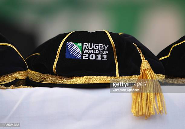 A close up of a Rugby World Cup cap during the Australian Wallabies IRB Rugby World Cup 2011 official team welcome ceremony at Aotea Square on...