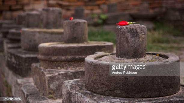 close up of a shiva lingam's in a line with offerings of red hibiscus flowers on them adjacent to the giant shiva lingum in the hanuman ghat area of bhaktapur in the kathmandu valley, nepal. - shiva lingam stock pictures, royalty-free photos & images