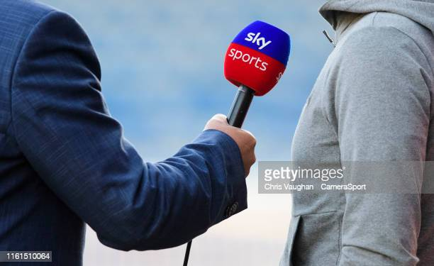 A close up of a Sky Sports microphone during an interview prior to the Carabao Cup First Round match between Huddersfield Town and Lincoln City at...