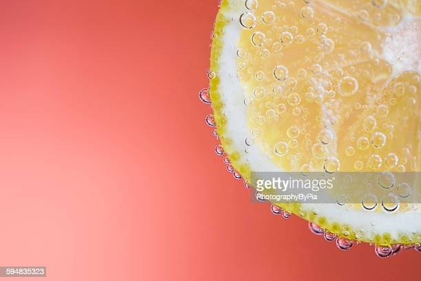 Close up of a slice of lemon