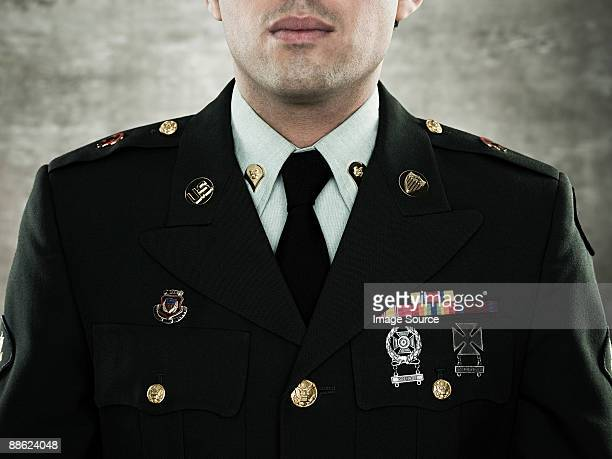 Close up of a soldier in uniform