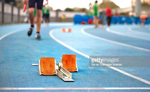 Close up of a starting blocks on a track and field