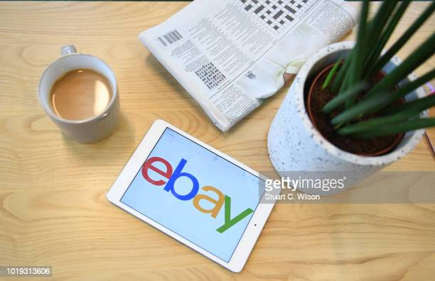 Close up of a tablet device displaying the eBay tablet app on May 30 in London, England. EBay remains at the forefront of online retail. The...