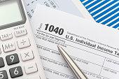 Close up of a Tax return form