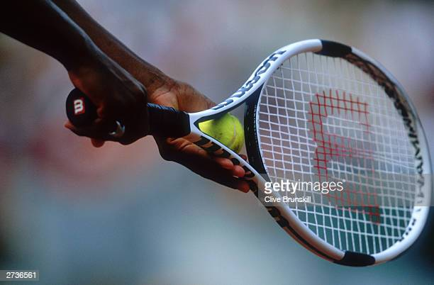 A close up of a tennis racquet used by Serena Williams during day eleven of the French Open on June 5 2003 at Roland Garros in Paris France