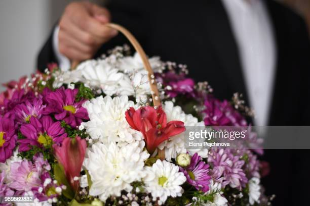 close up of a well suited man holding a basket of flowers - elena blume stock-fotos und bilder