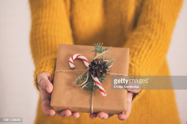 close up of a woman holding gifts - all gave some some gave all stock pictures, royalty-free photos & images