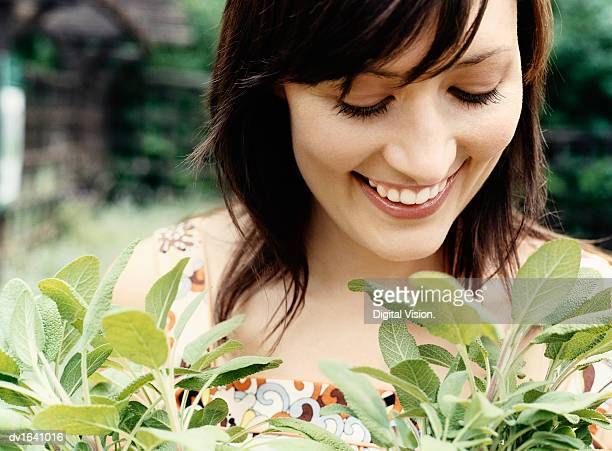 Close up of a Woman Looking At Potted Herbs in a Garden Centre