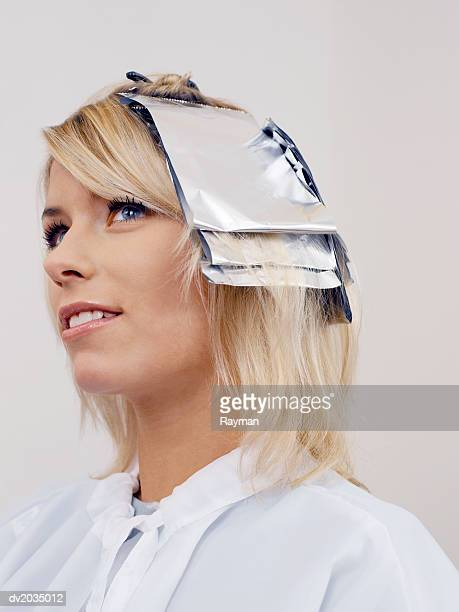 Close up of a Woman With Foil in Her Hair