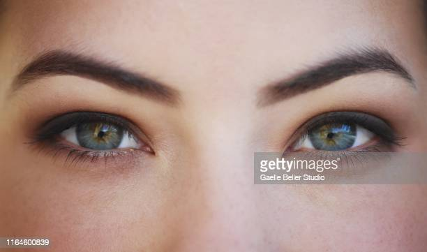 close up of a woman's green eyes - green eyes stock pictures, royalty-free photos & images
