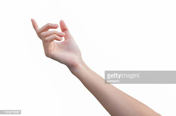 a close up of a woman's hand on a white background - reaching stock pictures, royalty-free photos & images