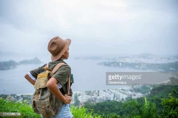 close up of a young beautiful brazilian explorer - headwear stock pictures, royalty-free photos & images