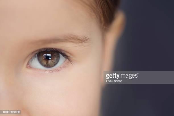 close up of a young child's hazel eye - occhi nocciola foto e immagini stock