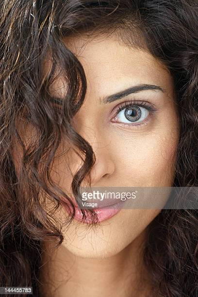 close up of a young woman - gray eyes stock pictures, royalty-free photos & images