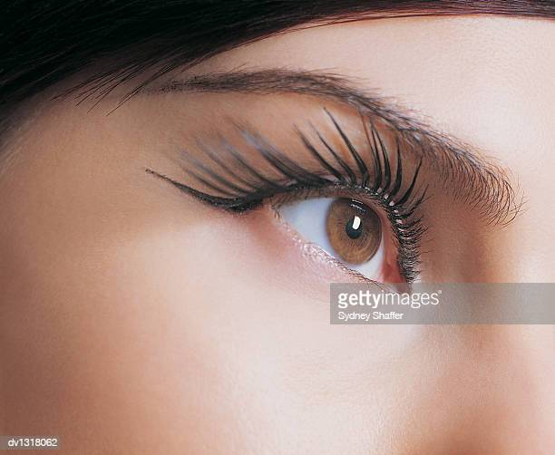 Close up of a Young Woman Wearing False Eyelashes