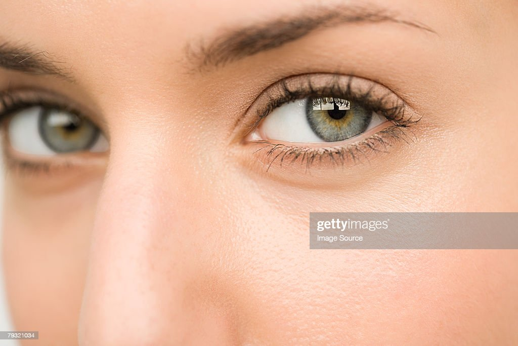 Close up of a young womans eyes : Stock Photo