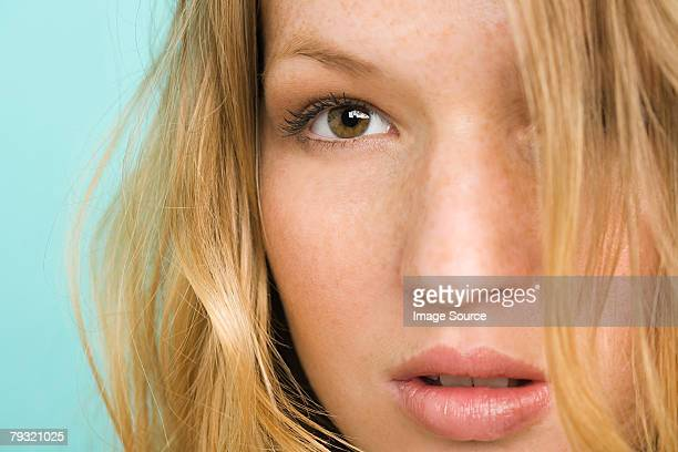 Close up of a young womans face