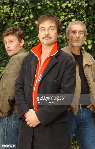 Close up of actor and director Olivier Marchal for his movie' 36 Quai des Orfevres' here with actor Francis Renaud and former policeman Dominique...
