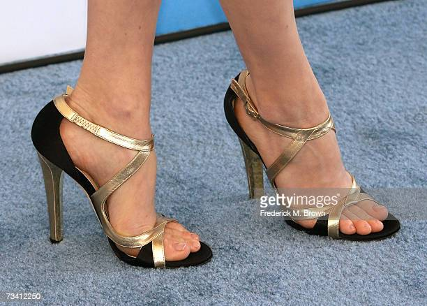 A close up of actress Amy Adams' shoes is seen as she arrives at the 22nd Annual Film Independent Spirit Awards held at Santa Monica Beach on...