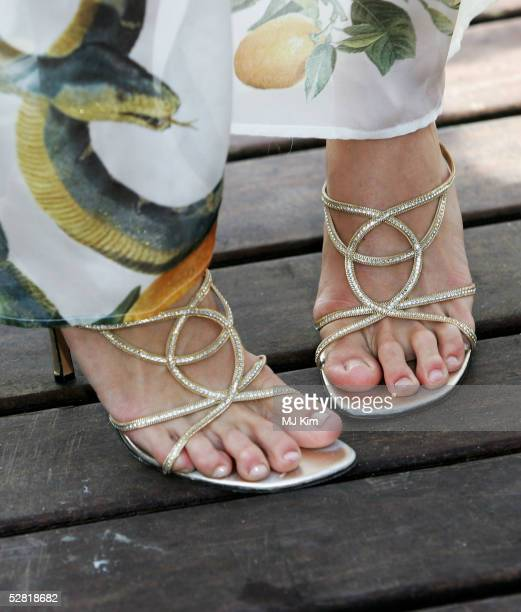 A close up of actress Paris Hilton's feet are seen as she attends the National Lampoon's Pledge This photocall at the Carlton Pier during the 58th...