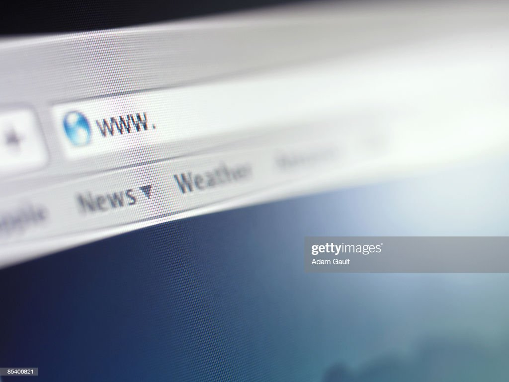 Close up of address bar on internet browser : Bildbanksbilder