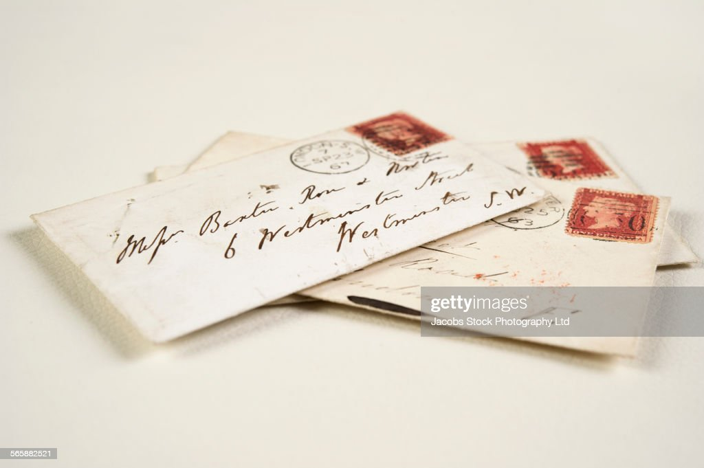 Close up of addressed vintage mail envelopes : Stock Photo