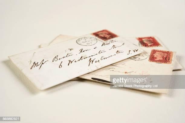 Close up of addressed vintage mail envelopes