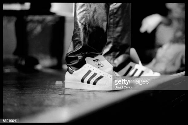Close up of Adidas Superstar shoes at a Run-DMC's concert at Hammersmith Odeon London, UK, 13 September 1986.