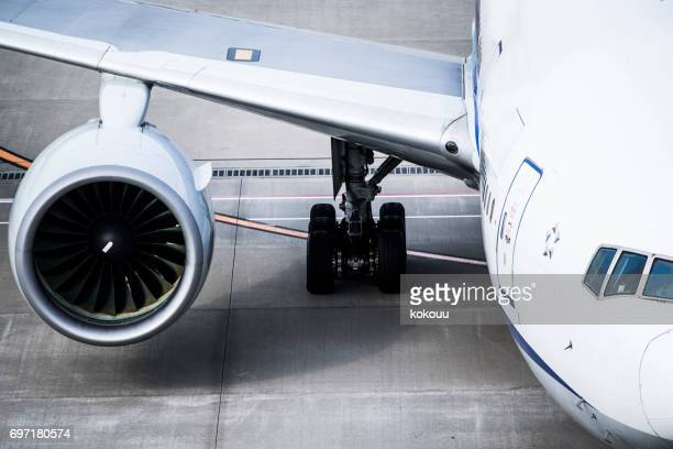 Close up of aircraft feathers and turbines.