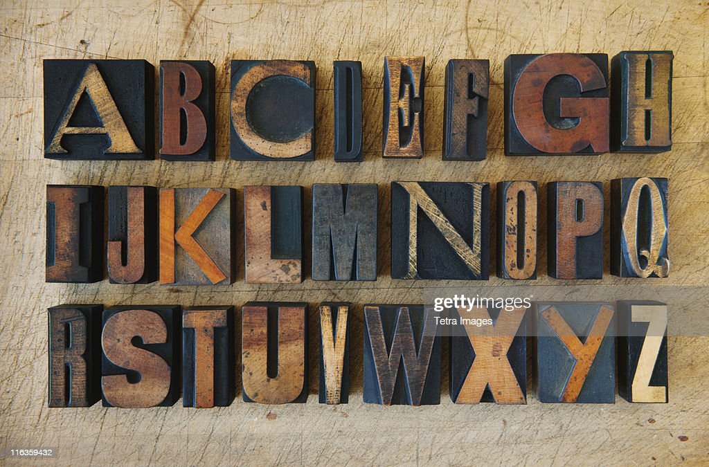 Close up of alphabet on letterpress : Foto de stock
